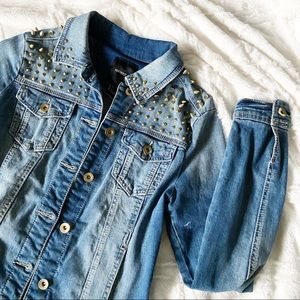 Forever 21 Studded Jean Jacket Gold Spikes Punk